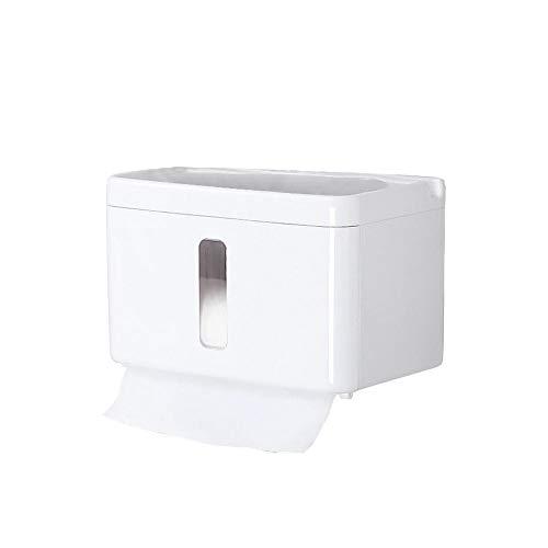 Lamptti Boîte à mouchoirs multifonctionnelle - Papier Toilette pour Salle de Bain Tube pour Perforation Gratuite Boîte de Papier Toilette Porte-Serviettes en Papier Organisateur de mouchoirs pour