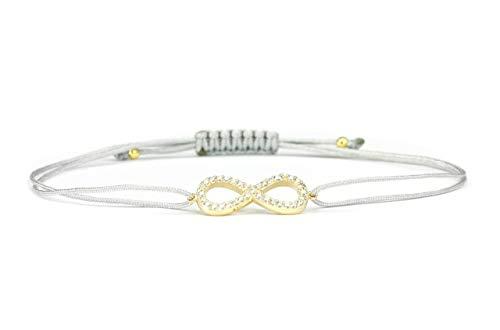 SCHOSCHON Damen Unendlichkeit Armband 925 Silber vergoldet Zirkonia Grau   Schmuck Infinity Zeichen - liegende 8 Geschenk