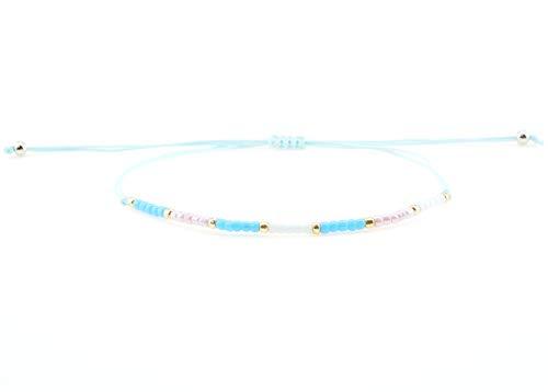 Surfer Armband mit feinen Perlen | Wasserfest | Größenverstellbar | Verschiedene Farben | Frauen und Mädchen | Mode | Neu (Weiß-Türkis-Pink) - Makramee-stoff