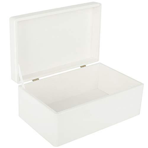Creative Deco Große Weiße Holzkiste mit Deckel | 30 x 20 x 14 cm | Weihnachten Kiste | Klein Holzbox Erinnerungsbox Aufbewahrungsbox Spielzeugkiste Kasten | Ideal für Spielzeuge und Werkzeuge