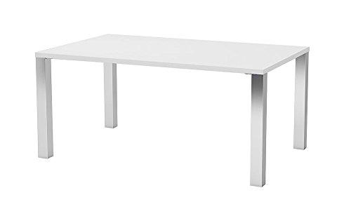 Dynamic24 Esstisch Mocca 90x160 cm Küchentisch Küche Esszimmer Wohnzimmer Tisch Chrom weiß -