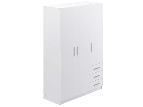 Movian - Armoire 3portes et 3tiroirs Idre Modern, 51 x 129 x 191, Blanc