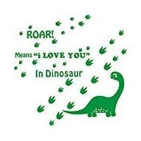 Easma Dinosaur Wall Decals for Kids Room - ROAR Means I Love You In Dinosaur With Dinosaur Footprints Vinyl Sticker Boy Bedroom Nursery Wall Art Decals-Green