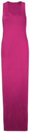 Purple Hanger - Damen Maxi Kleid U-Ausschnitt Trikot Racerback Ärmelloses Stretch Maxi Trägerkleid - Kirschrot, 44/46 (Damen Kleid Racerback)