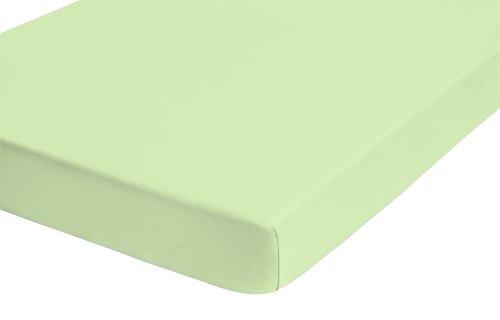 Castell 77113/426/040 Lenzuolo in jersey con angoli elasticizzati 90 x 190 cm - 100 x 200 cm, colore: Verde pistacchio