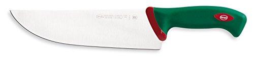 Sanelli Premana Professional Coltello macellaio per Affettare, Acciaio Inossidabile, Verde/Rosso, 24 cm