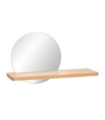 Mensola da parete in legno con specchio rotondo incasso
