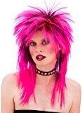 Unisex 80's Retro Hot Pink Punk Rocker Wig