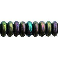 50 Iris Green Czech Pressed Glass Rondelle Spacer Beads 6mm by Czech 6/0 - Rondell Czech Pressed Glass Bead
