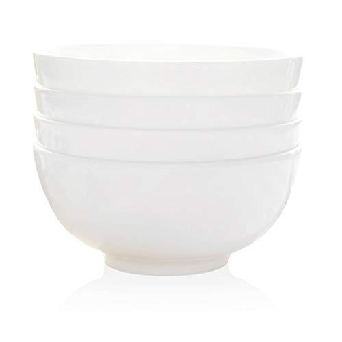 WANWY Set di 4 coppette in porcellana bianca con osso, cereali, insalata, dessert, riso, zuppa - cassaforte per forno/lavabile in lavastoviglie, bianca (dimensioni : 4.5 inches)