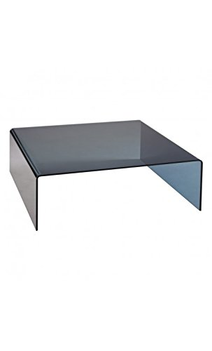 CAMINO A CASA - Table Basse Design Plateau Verre Noir Ahumado