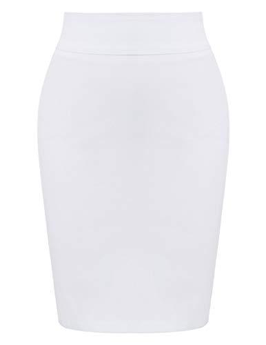 elastische Röcke Bleistift Röcke einfarbig weiß (KK276-4) Small ()