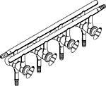 Laboy doppio vetro maniflod-Distributore per gas Linea Schlenk con 5porte Hollow vetro rubinetto front-left & rear-right Tubo apre 550mm di lunghezza - Linea Distributore