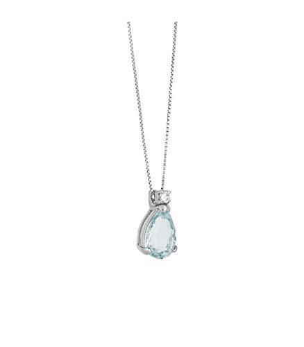 Gioielli di Valenza Collana con Pendente in Oro Bianco 18k con Acquamarina e Diamante
