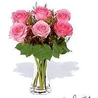 Factoría flor, 6 ROSAS ROSAS FRESCAS EN JARRÓN DE CRISTAL. Añade tu dedicatoria personalizada