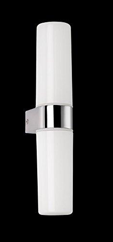 1-licht Halogen-wand-lampe (Stilvolle Wandleuchte in Chrom Weiß 2x G9 bis zu 28 Watt 230V aus Metall & Glas opal Halogen warmweißes Licht Badezimmer Lampe Leuchten innen)