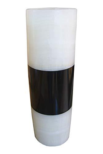 Onyx Marmor (Naturstein) zweifarbige weiss/schwarze Blumenvase 40cmx15cm (Vasen Weißer Marmor Für)