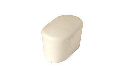 GLEITGUT 4 x Fußkappen Oval 40 x 20 mm - Rohrkappen Weiss - Endkappen Für Ovalrohr