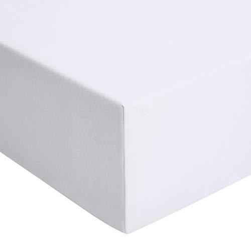 AmazonBasics - Spannbetttuch, Jersey, Weiß - 120 x 200 cm - Weißes Spannbetttuch