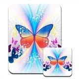 Butterfly Frenzy Multi farbige Schmetterlinge Premium Mauspad und Untersetzer Set