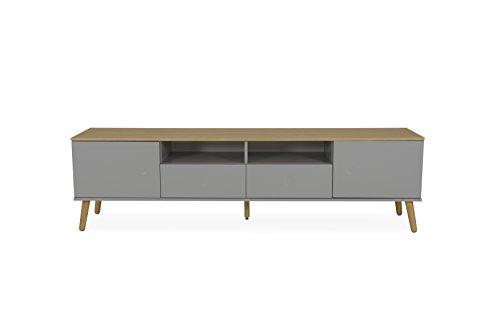 Tenzo 1665-612 Dot Designer Banc TV 2 Portes, 2 tiroirs, Gris, Structure Façades en MDF Laqué. Plateau du Dessus en Panneaux de Particules placage chêne, 54 x 192 x 43 cm (HxLxP)
