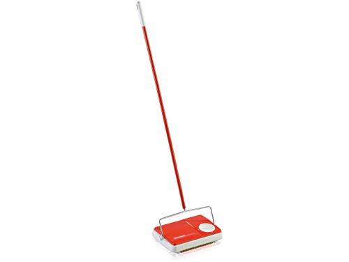 Leifheit Teppichkehrer Regulus, rot, für die schnelle Reinigung, Teppichreinigung verschiedener Teppicharten, Teppichkehrer ohne Strom mit 3 Kehrbürsten