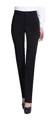 CYSTYLE Damen Gerade Hose Kellnerhose Anzug Hose Anzughose Service Classic Style mit Elastische an Taile (Schwarz, S)
