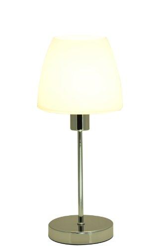 Bella Vita Dapo Leuchten Elegante Glas Tischleuchte Anna mit LED Leuchtmittel E14-4Watt chrom Glas weiß Tischlampe -