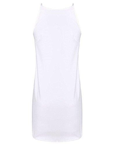 ZANZEA Femme Mousseline Plage Gilet Ourlet Asymétrique Tunique Sans Manche Mini Robe Blanc