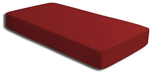 one-home 2 Spannbettlaken rot 180×200 cm – 200×200 cm Microfaser Spannbetttuch Set