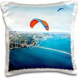 Ali Kabas - Aircraft - Paramotors pilots flying over Bosphorus and Bridge, Istanbul, Turkey - 16x16 inch Pillow Case