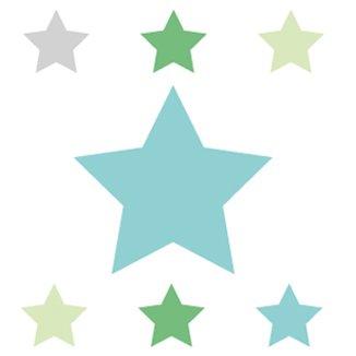 Anna Wand Bordüre selbstklebend Stars 4 Boys Türkis/Grün/Grau - Wandbordüre Kinderzimmer/Babyzimmer mit Stern-Motiven - Wandtattoo Schlafzimmer Mädchen & Junge, Wanddeko Baby/Kinder