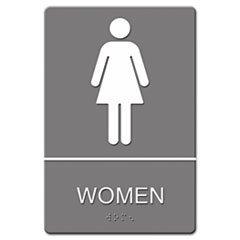 ADA Sign, Frauen WC Symbol w/Taktile Graphic, geformtem Kunststoff, 6x 9, Gray