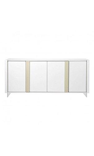 CAMINO A CASA - Buffet design laqué blanc et bois 4 portes AIRY