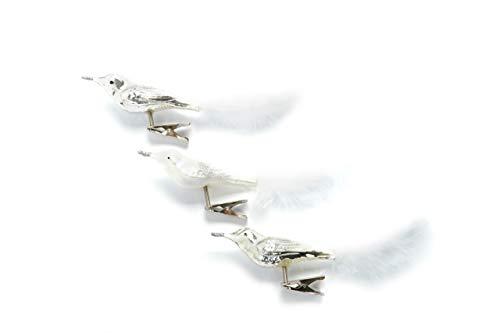 HEITMANN DECO Glas-Vogel Christbaumschmuck mit Clip - Vögel mit Ornament und Federschwanz - Weihnachtsdeko - 3er-Set, Silber