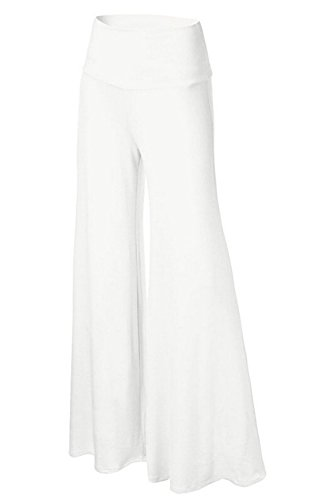 Le Donne In Pantaloni Larghi Casual Alto Palazzo Ultra Gamba Pantaloni Yogo Lounge Pantaloni White