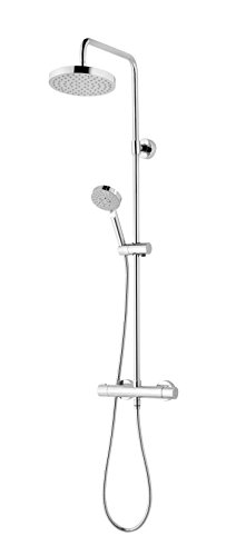 Schulte Duschsystem mit Sicherheits-Thermostat, Kopfbrause rund, verchromter Korpus aus Messing, Duschmaster Rain III mit Regendusche