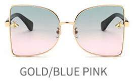 LKVNHP Schmetterling Schmuck Sonnenbrillen Damen Übergroße Rote Linse Mode Rosa Spiegel Frauen Vintage Metall EyewearWTYJ080 grün