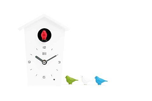 KOOKOO Birdhouse Mini weiß Wanduhr mit 12 natürlichen Vogelstimmen aus der Natur oder Kuckuck Kleine Kuckucksuhr Moderne Design Singvogel Uhr