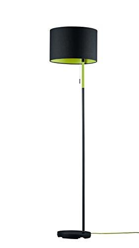 Trio Leuchten Stehleuchte LANDOR in schwarz, Stoffschirm schwarz/innen grün 401400102 -