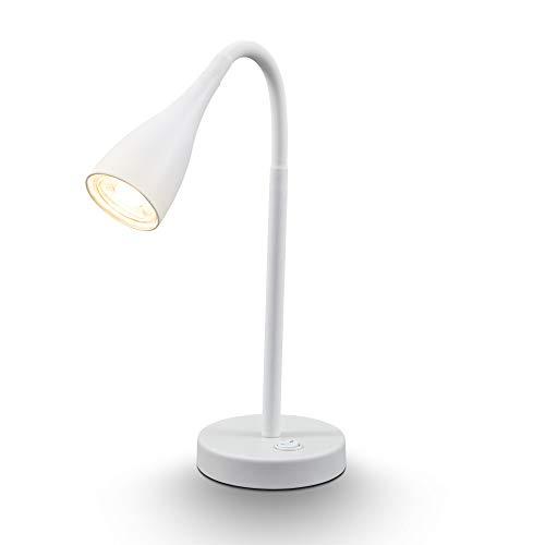lampada led da tavolo orientabile a 360°, include lampadina gu10 5w, luce calda 3000k, 400lm, lampada da scrivania per ufficio o abat-jour da comodino per la camera da letto, bianca, ip20