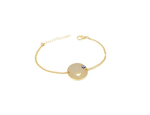 Remi Bijou Armband Armkette Türkisches Auge Herz Gold Farbe - Romantisches Geschenk