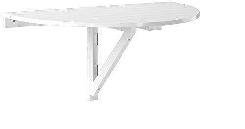 Magasin en ligne SoBuy FWT10-W Table murale rabattable en bois, Table de cuisine pliable, Table enfant demi-ronde, Blanc