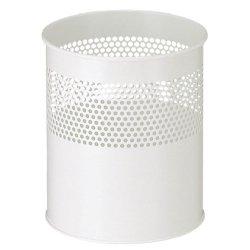 Büro Papierkorb Metall (V-Part Papierkorb aus Metall halbperforiert 10 Liter, weiß)