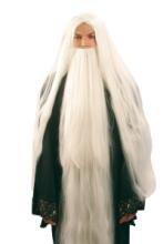 Seiler 24 Weiße Gandalf der Zauberer Perücke mit (Perücke Bart Erwachsene Gandalf Set Und)