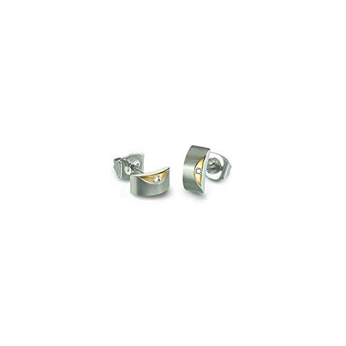 Boccia Damen-Ohrstecker Titan mattiert Diamant (0.01 ct) weiß Brillantschliff - 05007-03