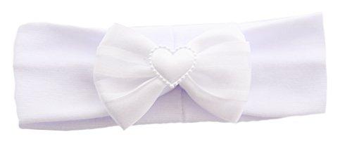 Baby Kinder Haarband Stirnband Hairband Weiß mit Schleife festlich Taufe La Bortini