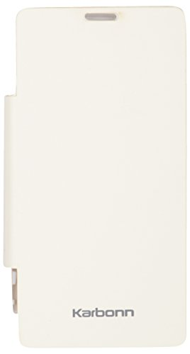iCandy™ Synthetic Leather Flip Cover For Karbonn A27 Retina - WHITE  available at amazon for Rs.170