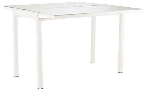 Soliving Mathilde Table Extensible Plateau, Verre, Blanc, 165 x 55 x 76 cm