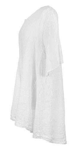 Damen Womens italienischen Lagenlook schrulligen kurze Ärmel Hälfte Taste Back Plain Leinen Tunika Kleid One Size UK 12-16 Weiß